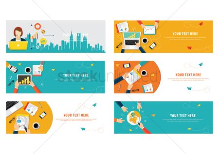 Magnifying : Set of business template design icons