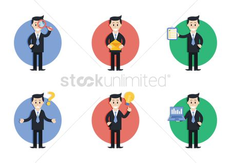 Magnifying : Set of businessman figures