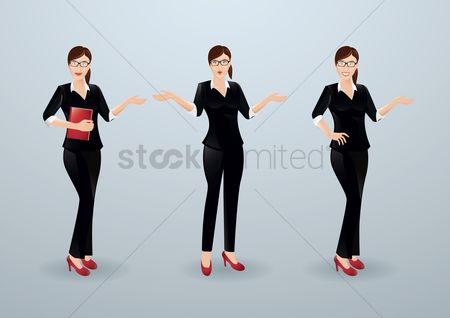 Posing : Set of businesswoman icons