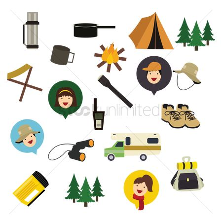 Folding chair : Set of camping icons