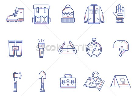 America : Set of camping icons
