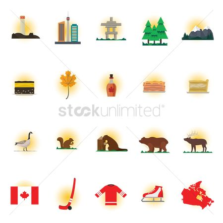 Logs : Set of canada icons