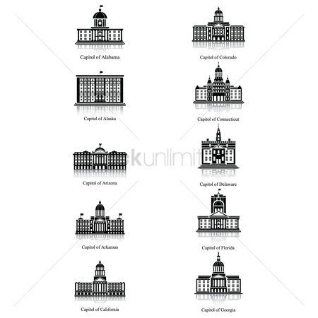 Connecticut : Set of capitol buildings