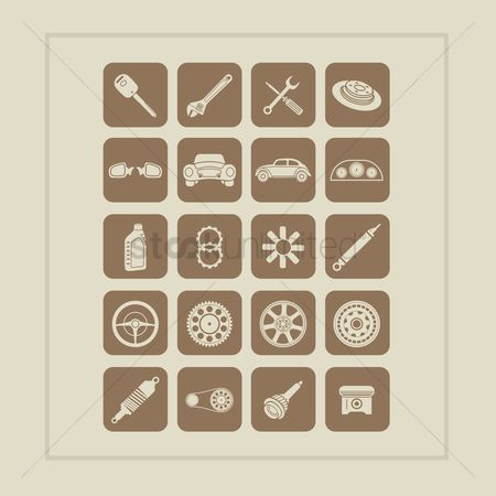 Mechanicals : Set of car parts icons