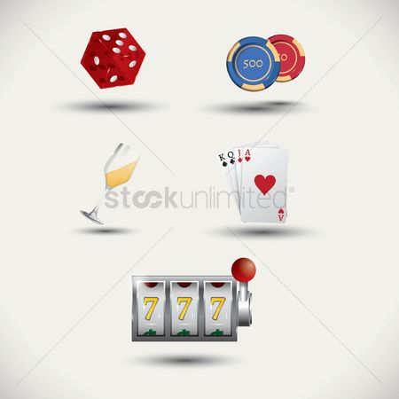 Poker chips : Set of casino icons