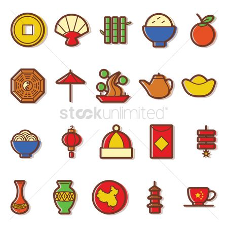 Firecracker : Set of chinese icons