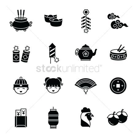 Teapot : Set of chinese new year icons