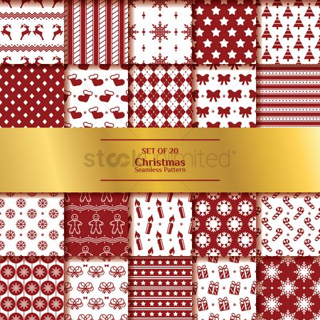 Red : Set of christmas seamless pattern