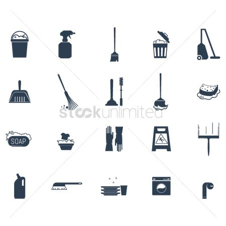 Chores : Set of cleaning icons