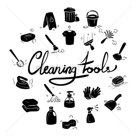 Caution : Set of cleaning icons