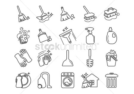 Broom : Set of cleaning tools icons