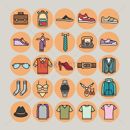Footwears : Set of clothing icons