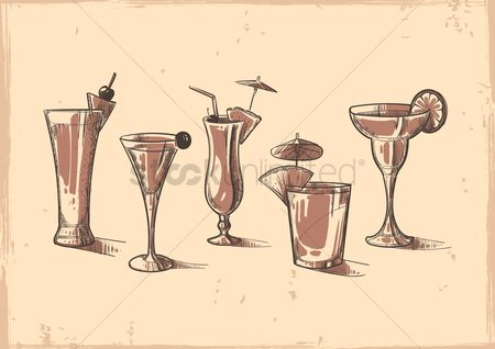 Fresh : Set of cocktail drinks