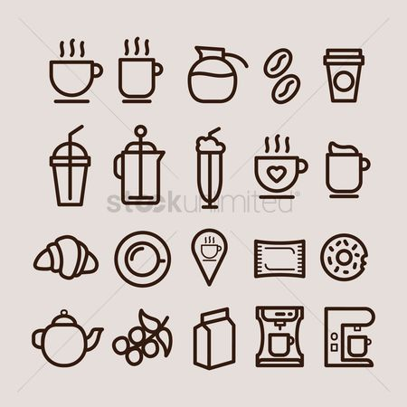 Croissant : Set of coffee icons