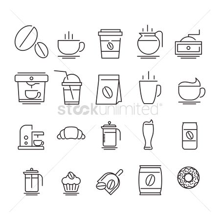 Croissants : Set of coffee icons