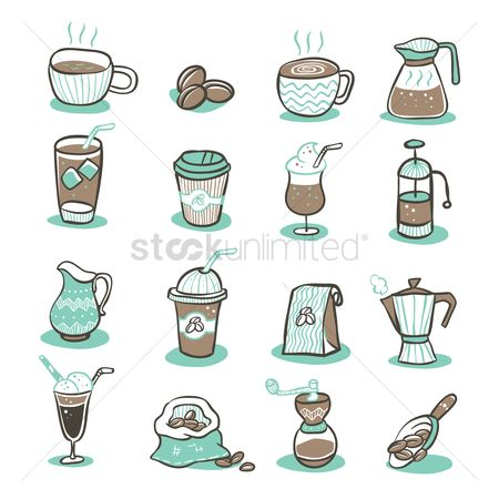 Aroma : Set of coffee icons