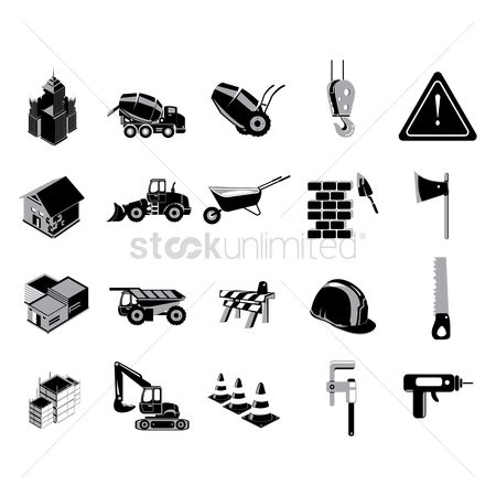 Drilling : Set of construction icons