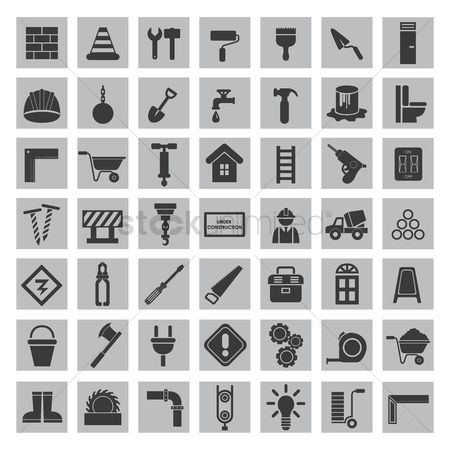 Wooden sign : Set of construction icons