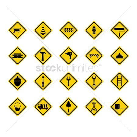 Screwdrivers : Set of construction sign boards
