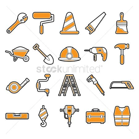 Roller brush : Set of construction tools
