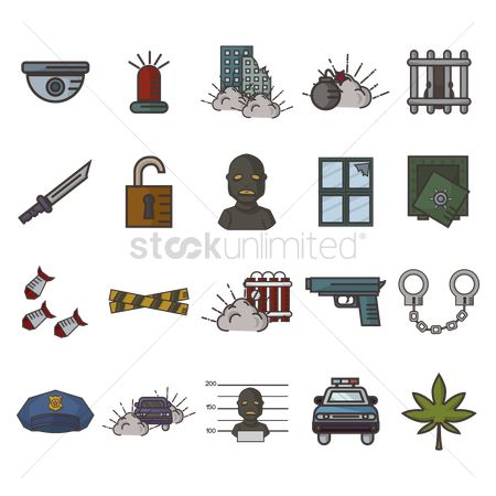 Barrier : Set of crime icons