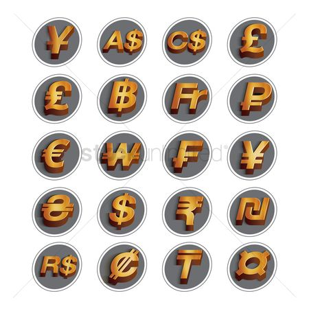 Wealth : Set of currency symbol icons