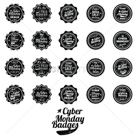 Monday : Set of cyber monday badges