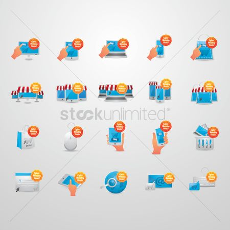 Monday : Set of cyber monday deals icons