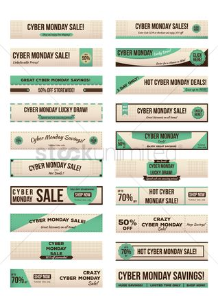 Monday : Set of cyber monday sale banners