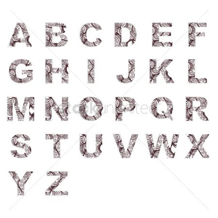 Linear : Set of decorative alphabets