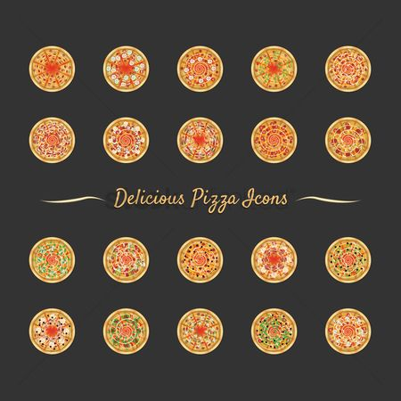 Binge : Set of delicious pizza icons