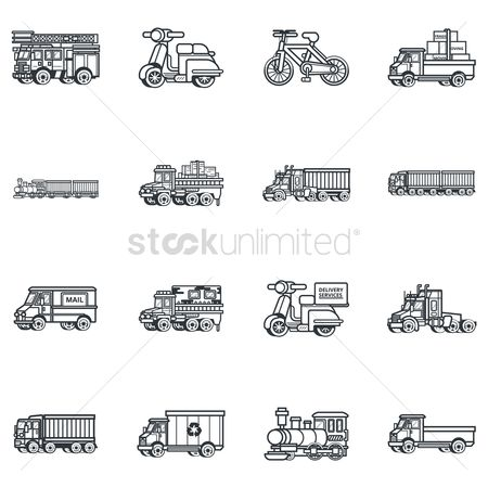 Lorries : Set of delivery icons