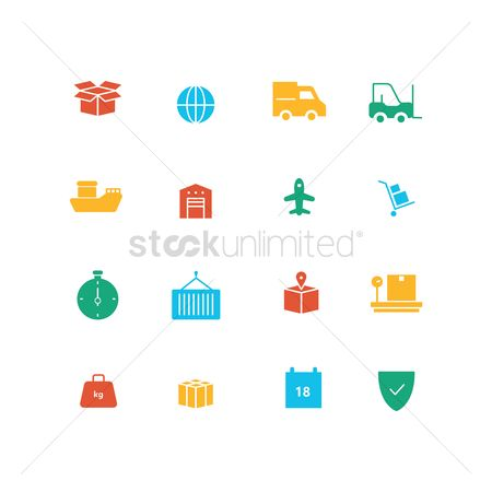 Hand truck : Set of delivery icons