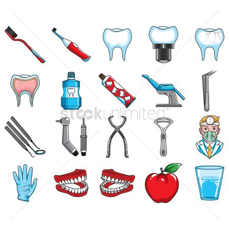 Cleaner : Set of dental icons