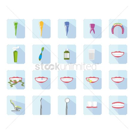 Mouth wash : Set of dental icons