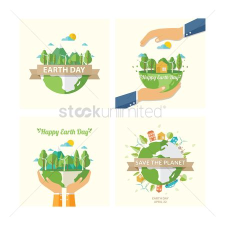Aware : Set of earth day icons