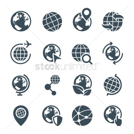 Interact : Set of earth icons