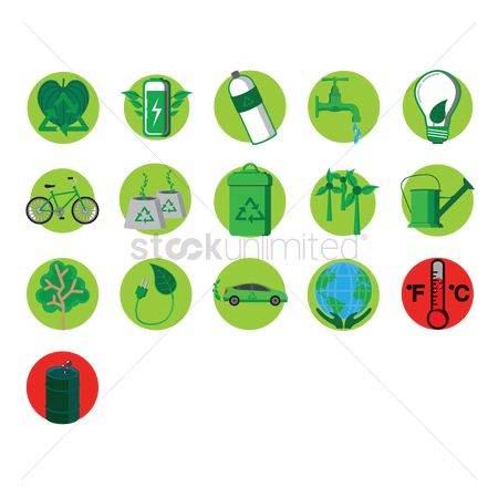 Trash can : Set of eco-friendly icons