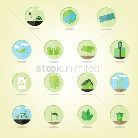 Save trees : Set of eco green icons