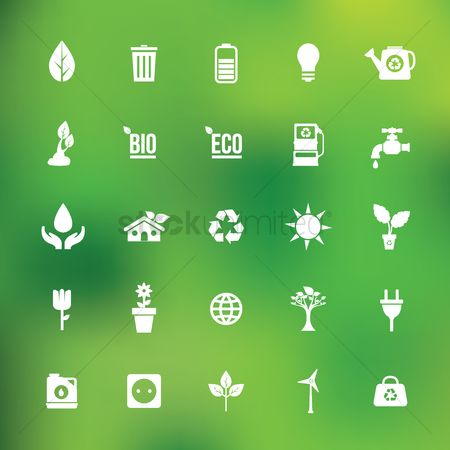 Trash can : Set of ecology icons