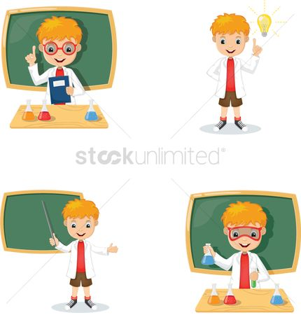 Researching : Set of education concept with cartoon character