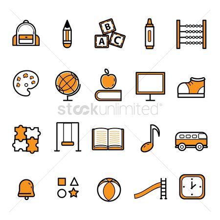 Marker : Set of education icons