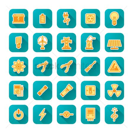 Power button : Set of electric icons