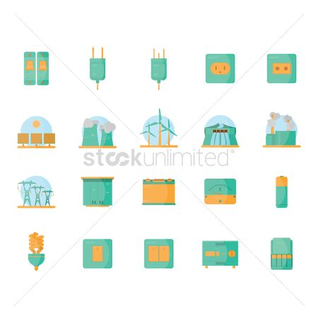 Panels : Set of electric icons