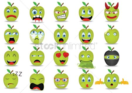 Apple : Set of emoticon icons