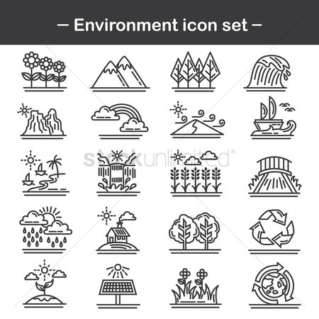 Seashore : Set of environment icons