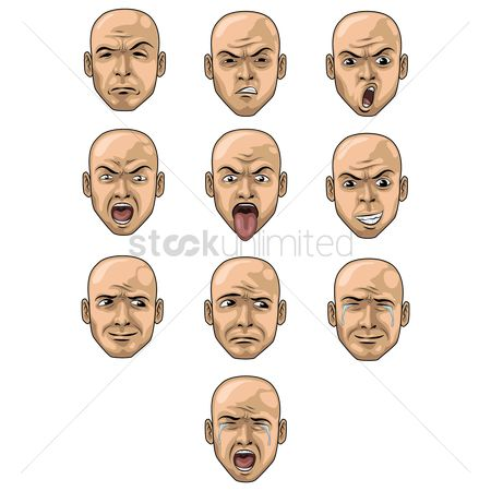 Head : Set of face expression icons