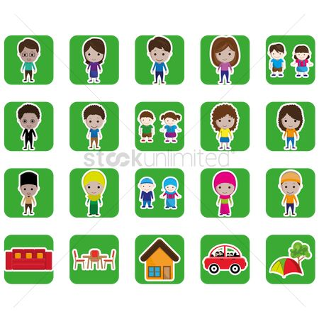 Tents : Set of family and home icons