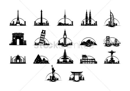 Monuments : Set of famous landmarks
