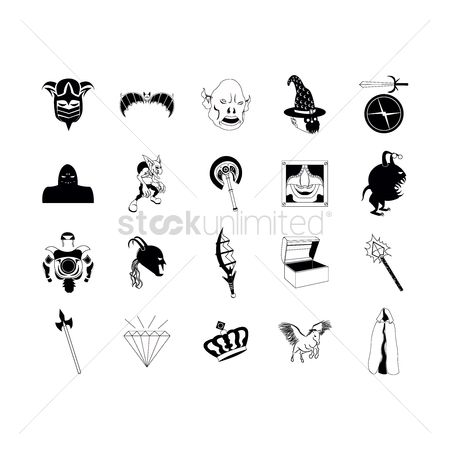 Crown : Set of fantasy icons